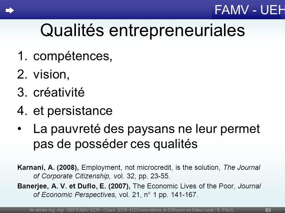 FAMV - UEH Qualités entrepreneuriales 1.compétences, 2.vision, 3.créativité 4.et persistance La pauvreté des paysans ne leur permet pas de posséder ce