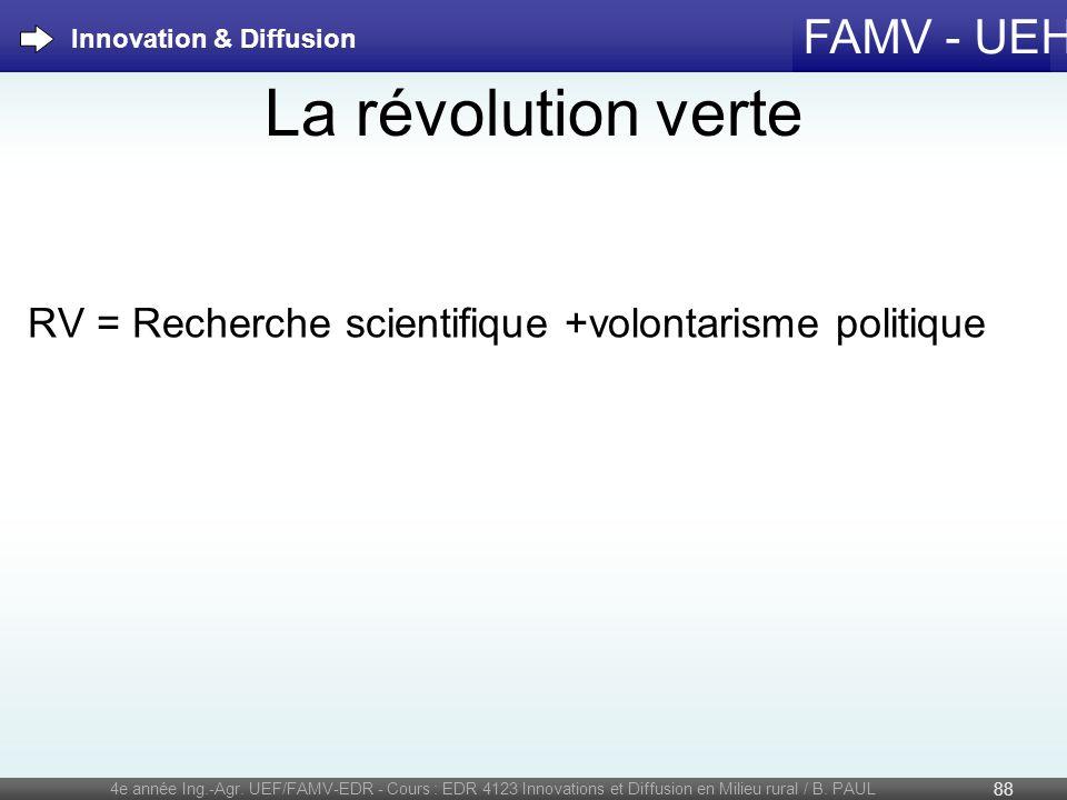 FAMV - UEH La révolution verte RV = Recherche scientifique +volontarisme politique 4e année Ing.-Agr. UEF/FAMV-EDR - Cours : EDR 4123 Innovations et D