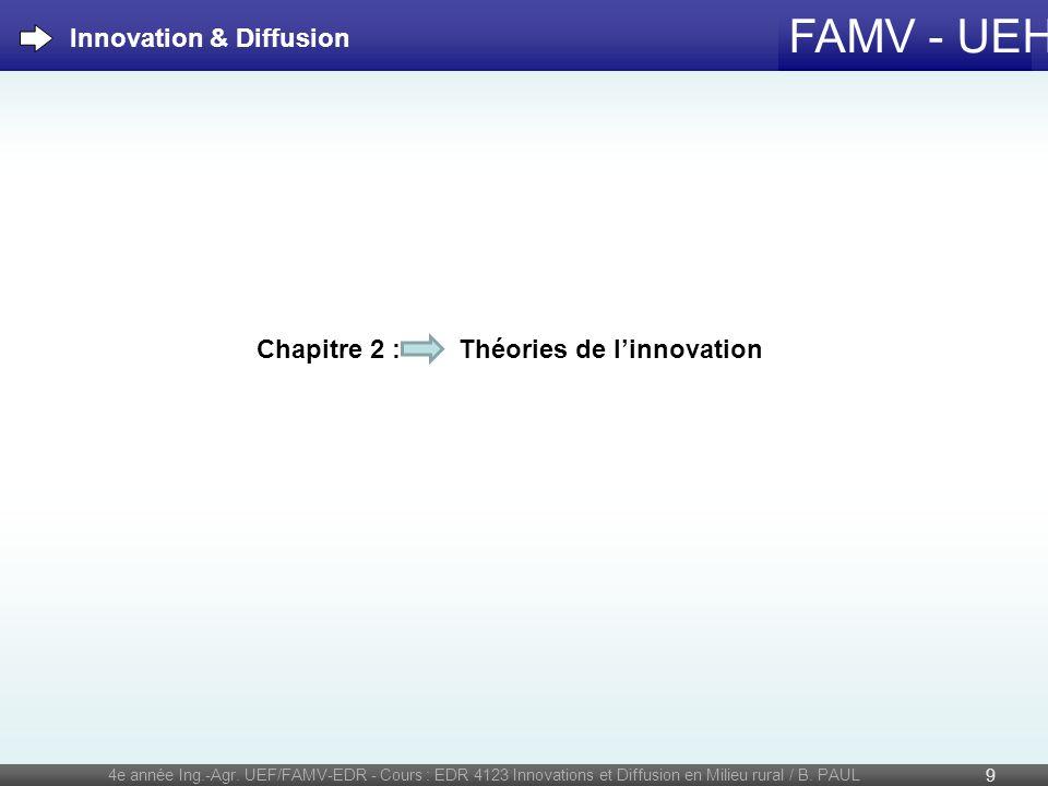FAMV - UEH 4e année Ing.-Agr. UEF/FAMV-EDR - Cours : EDR 4123 Innovations et Diffusion en Milieu rural / B. PAUL 9 Chapitre 2 : Théories de linnovatio