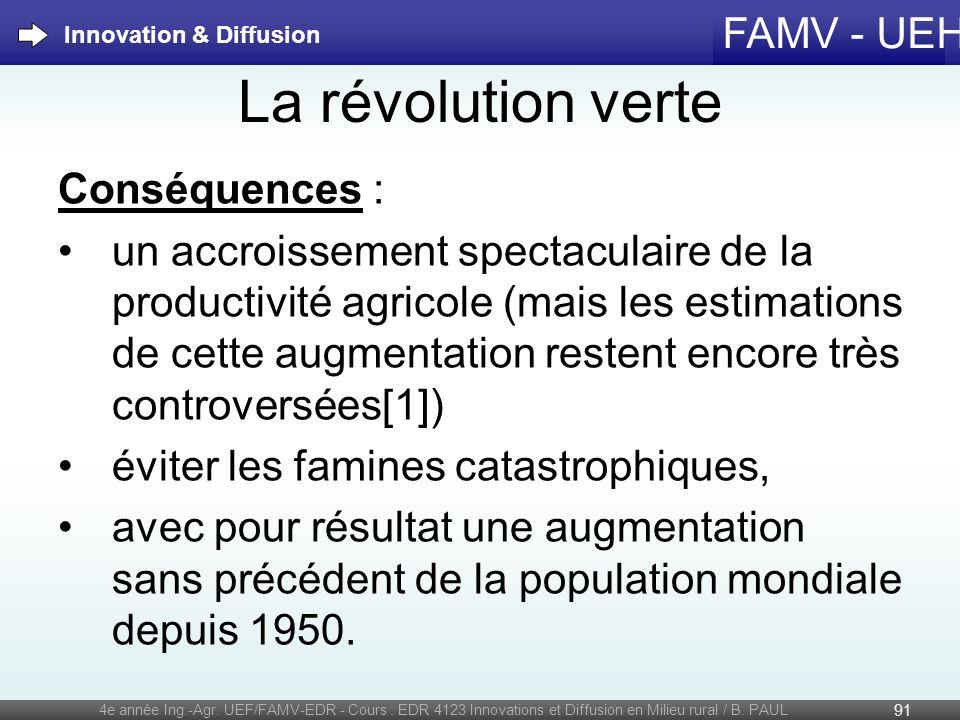 FAMV - UEH La révolution verte Conséquences : un accroissement spectaculaire de la productivité agricole (mais les estimations de cette augmentation r