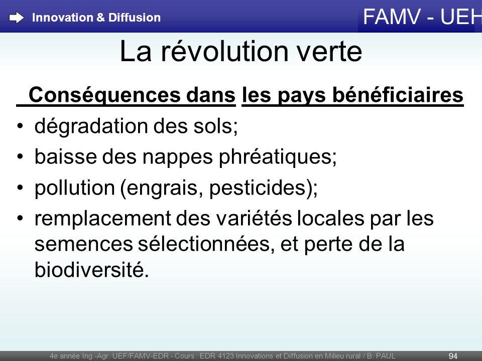 FAMV - UEH La révolution verte Conséquences dans les pays bénéficiaires dégradation des sols; baisse des nappes phréatiques; pollution (engrais, pesti
