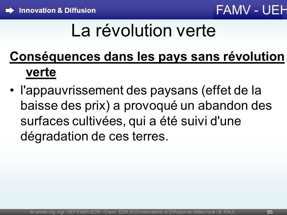 FAMV - UEH La révolution verte Conséquences dans les pays sans révolution verte l'appauvrissement des paysans (effet de la baisse des prix) a provoqué