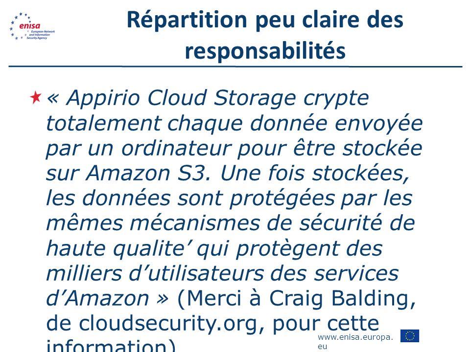 www.enisa.europa. eu Répartition peu claire des responsabilités « Appirio Cloud Storage crypte totalement chaque donnée envoyée par un ordinateur pour