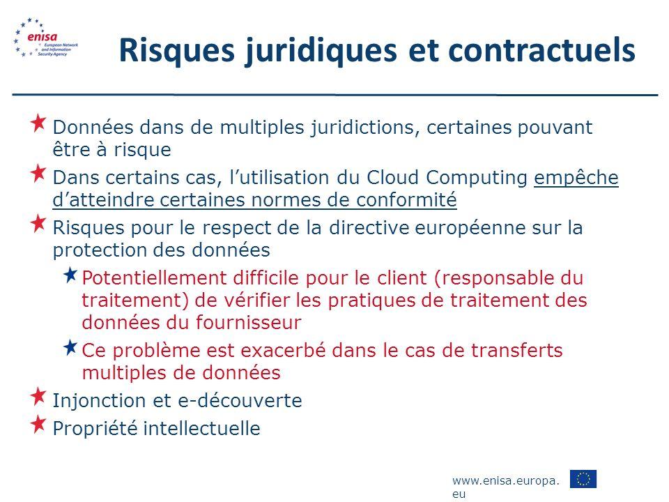 www.enisa.europa. eu Risques juridiques et contractuels Données dans de multiples juridictions, certaines pouvant être à risque Dans certains cas, lut