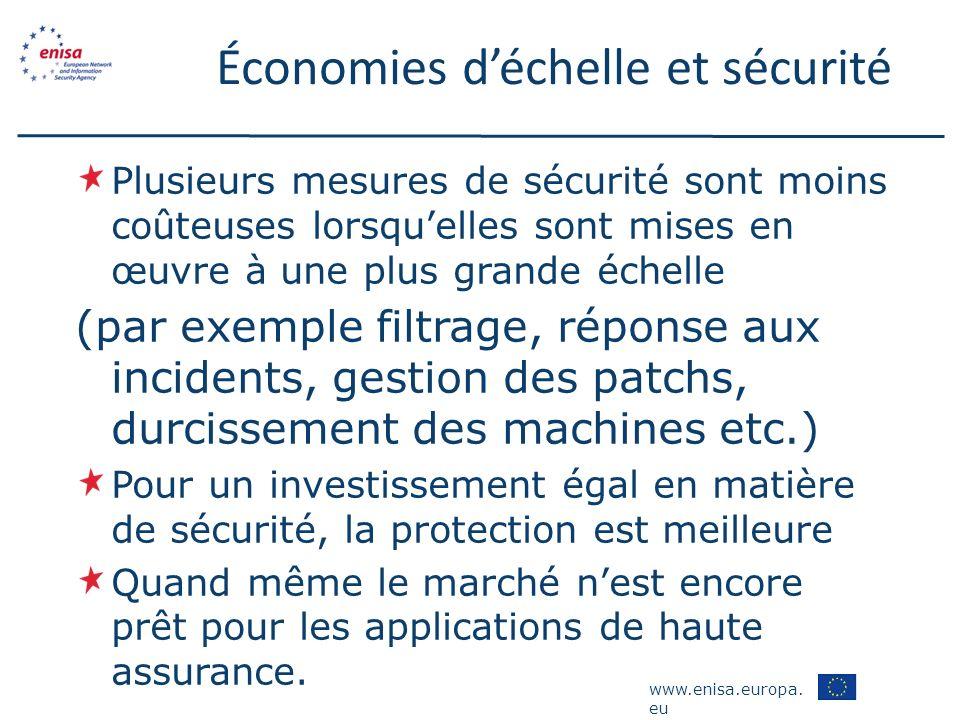 www.enisa.europa. eu Économies déchelle et sécurité Plusieurs mesures de sécurité sont moins coûteuses lorsquelles sont mises en œuvre à une plus gran