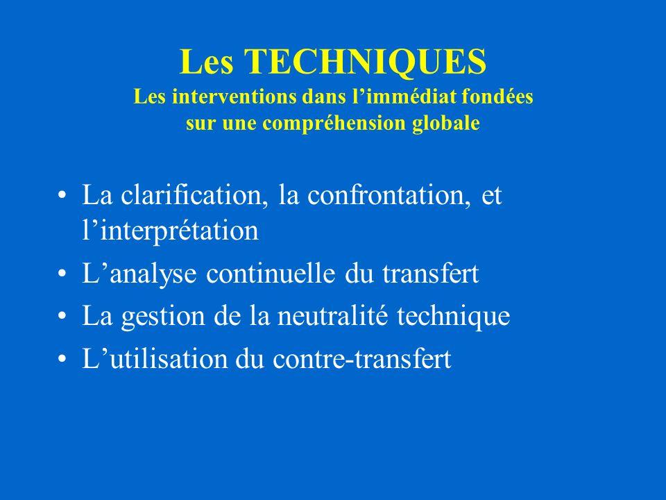 Les TECHNIQUES Les interventions dans limmédiat fondées sur une compréhension globale La clarification, la confrontation, et linterprétation Lanalyse continuelle du transfert La gestion de la neutralité technique Lutilisation du contre-transfert