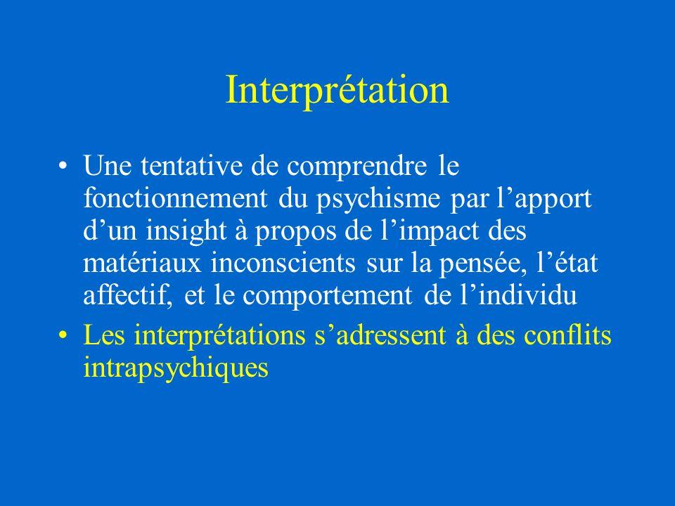 Interprétation Une tentative de comprendre le fonctionnement du psychisme par lapport dun insight à propos de limpact des matériaux inconscients sur la pensée, létat affectif, et le comportement de lindividu Les interprétations sadressent à des conflits intrapsychiques