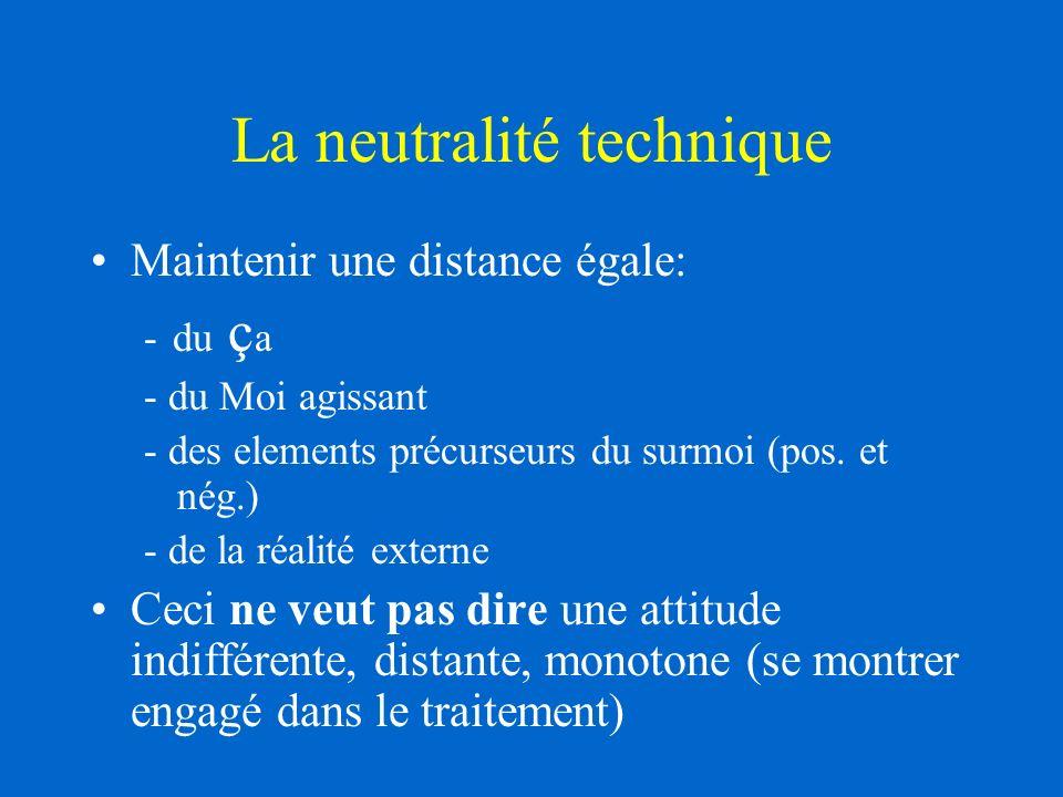 La neutralité technique Maintenir une distance égale: - du ç a - du Moi agissant - des elements précurseurs du surmoi (pos.