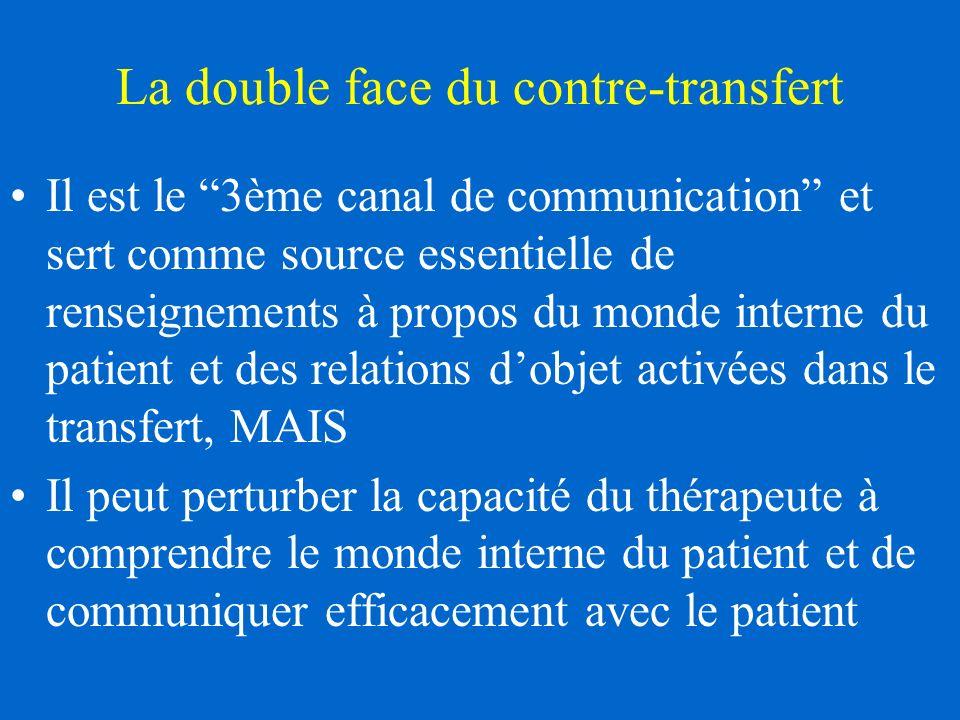 La double face du contre-transfert Il est le 3ème canal de communication et sert comme source essentielle de renseignements à propos du monde interne du patient et des relations dobjet activées dans le transfert, MAIS Il peut perturber la capacité du thérapeute à comprendre le monde interne du patient et de communiquer efficacement avec le patient