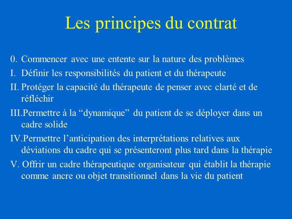 Les principes du contrat 0.Commencer avec une entente sur la nature des problèmes I.Définir les responsibilités du patient et du thérapeute II.Protéger la capacité du thérapeute de penser avec clarté et de réfléchir III.Permettre à la dynamique du patient de se déployer dans un cadre solide IV.Permettre lanticipation des interprétations relatives aux déviations du cadre qui se présenteront plus tard dans la thérapie V.