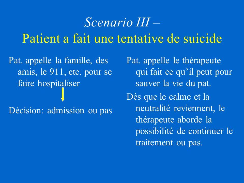 Scenario III – Patient a fait une tentative de suicide Pat.