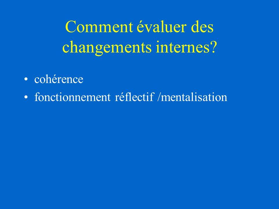 Comment évaluer des changements internes? cohérence fonctionnement réflectif /mentalisation