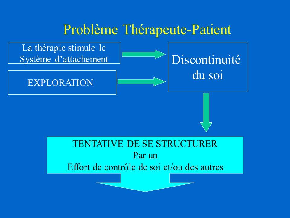 Problème Thérapeute-Patient La thérapie stimule le Système dattachement EXPLORATION Discontinuité du soi TENTATIVE DE SE STRUCTURER Par un Effort de contrôle de soi et/ou des autres