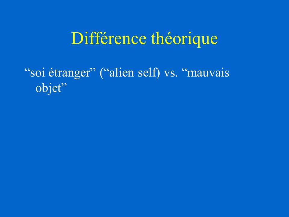 Différence théorique soi étranger (alien self) vs. mauvais objet