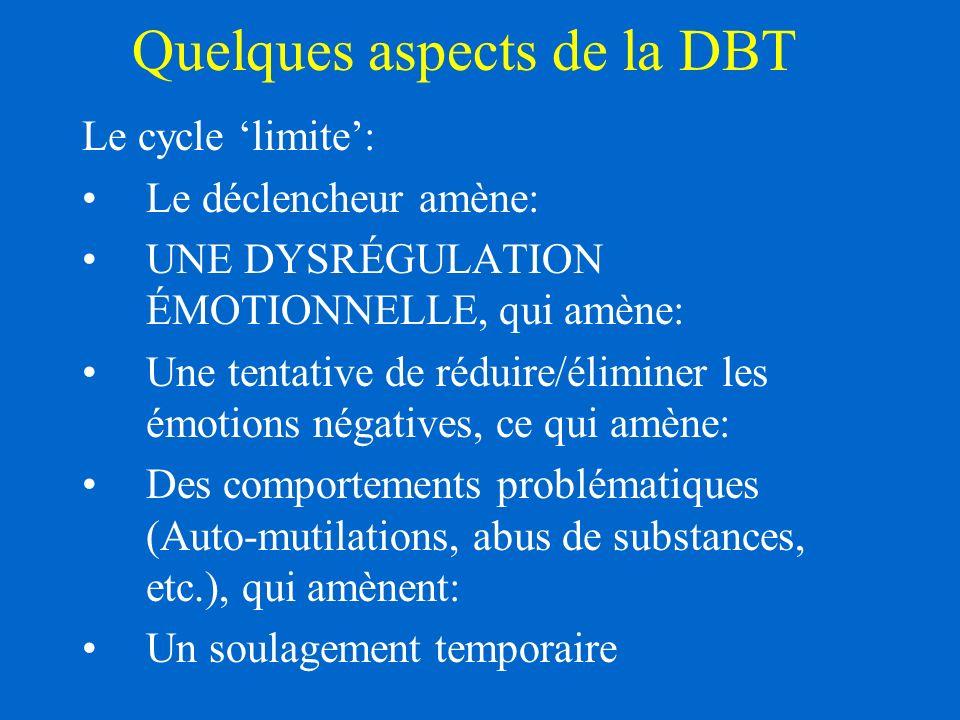 Quelques aspects de la DBT Le cycle limite: Le déclencheur amène: UNE DYSRÉGULATION ÉMOTIONNELLE, qui amène: Une tentative de réduire/éliminer les émotions négatives, ce qui amène: Des comportements problématiques (Auto-mutilations, abus de substances, etc.), qui amènent: Un soulagement temporaire
