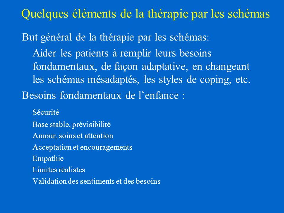 Quelques éléments de la thérapie par les schémas But général de la thérapie par les schémas: Aider les patients à remplir leurs besoins fondamentaux, de façon adaptative, en changeant les schémas mésadaptés, les styles de coping, etc.