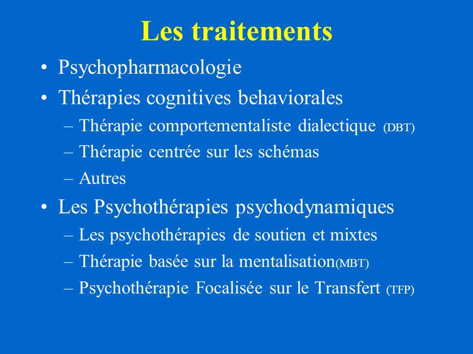 Les traitements Psychopharmacologie Thérapies cognitives behaviorales –Thérapie comportementaliste dialectique (DBT) –Thérapie centrée sur les schémas –Autres Les Psychothérapies psychodynamiques –Les psychothérapies de soutien et mixtes –Thérapie basée sur la mentalisation (MBT) –Psychothérapie Focalisée sur le Transfert (TFP)