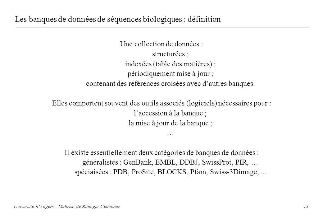 15 Les banques de données de séquences biologiques : définition Une collection de données : structurées ; indexées (table des matières) ; périodiqueme