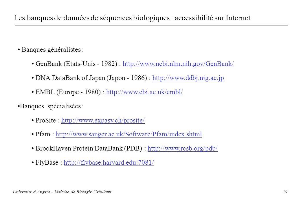 19 Les banques de données de séquences biologiques : accessibilité sur Internet Banques généralistes : GenBank (Etats-Unis - 1982) : http://www.ncbi.n