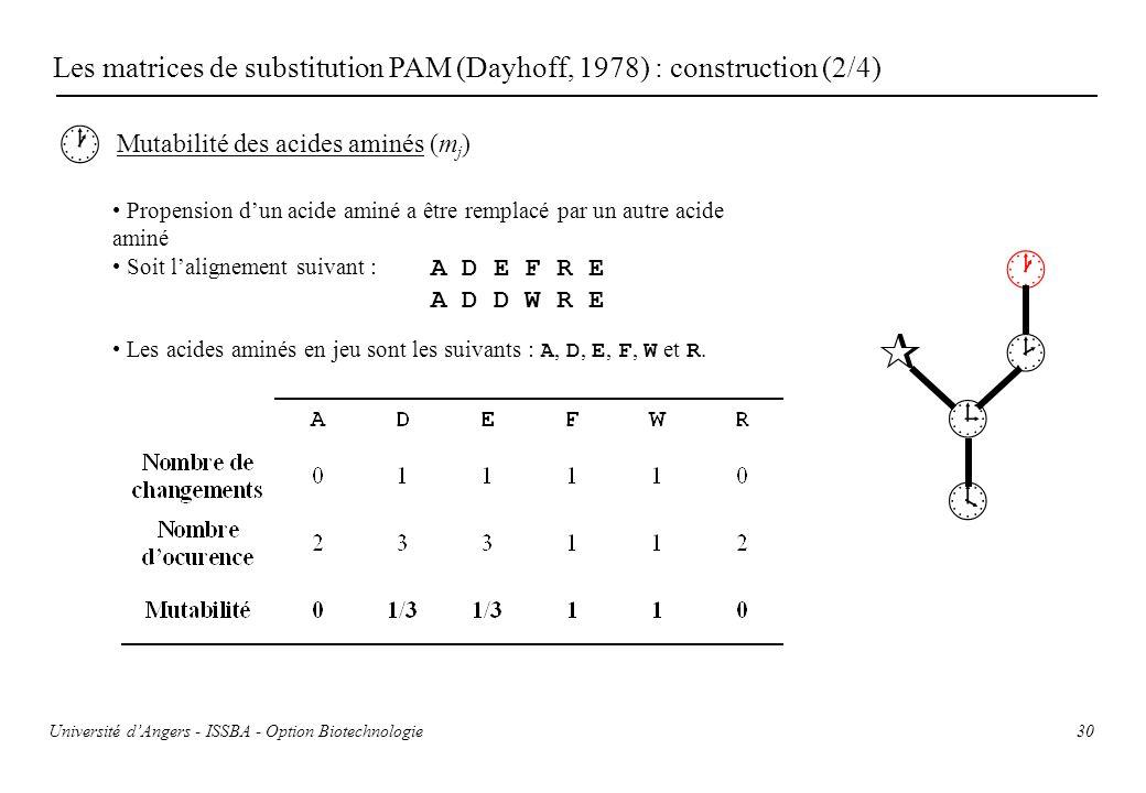 30 Les matrices de substitution PAM (Dayhoff, 1978) : construction (2/4) Mutabilité des acides aminés (m j ) Propension dun acide aminé a être remplac