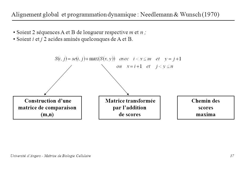 37 Alignement global et programmation dynamique : Needlemann & Wunsch (1970) Soient 2 séquences A et B de longueur respective m et n ; Soient i et j 2