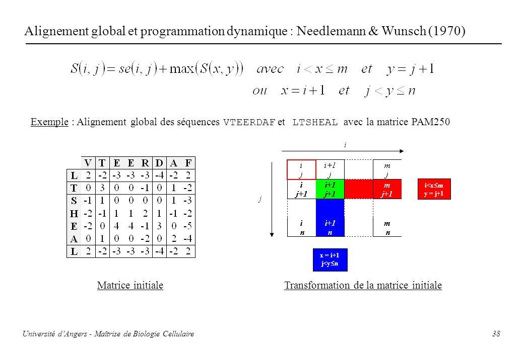 38 Alignement global et programmation dynamique : Needlemann & Wunsch (1970) Exemple : Alignement global des séquences VTEERDAF et LTSHEAL avec la mat
