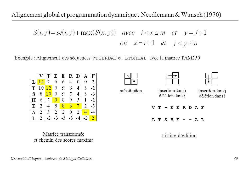 40 Alignement global et programmation dynamique : Needlemann & Wunsch (1970) Exemple : Alignement des séquences VTEERDAF et LTSHEAL avec la matrice PA