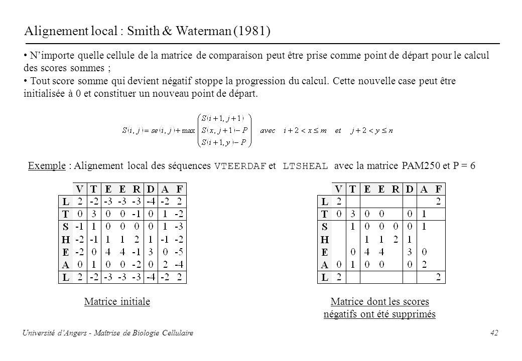 42 Alignement local : Smith & Waterman (1981) Nimporte quelle cellule de la matrice de comparaison peut être prise comme point de départ pour le calcu