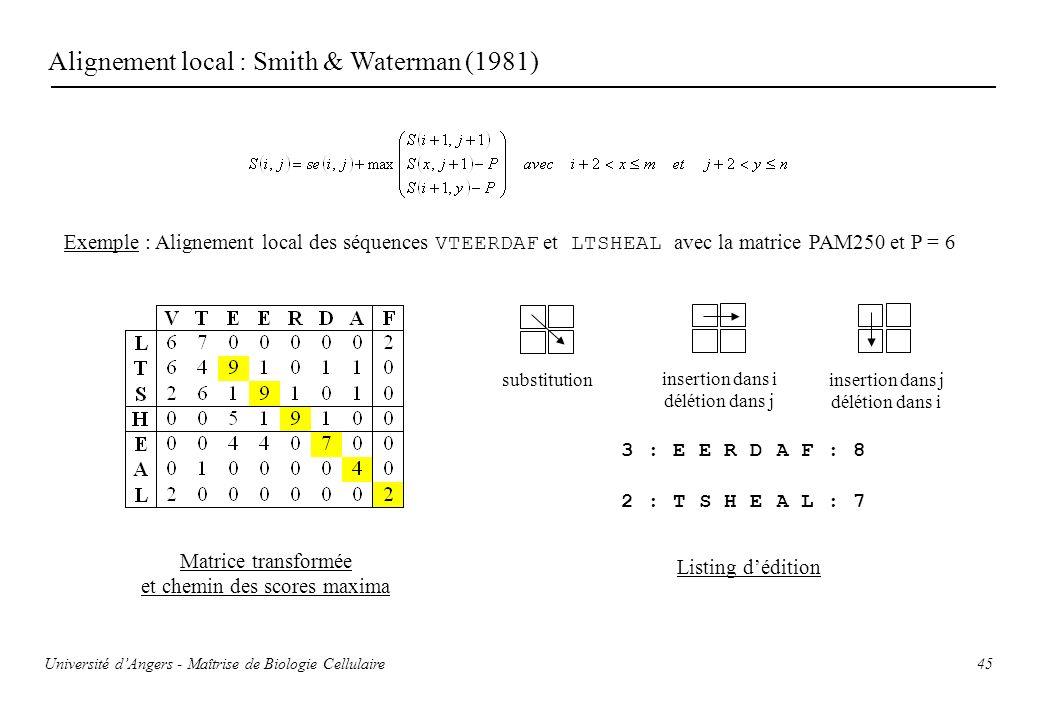 45 Alignement local : Smith & Waterman (1981) Exemple : Alignement local des séquences VTEERDAF et LTSHEAL avec la matrice PAM250 et P = 6 Matrice tra
