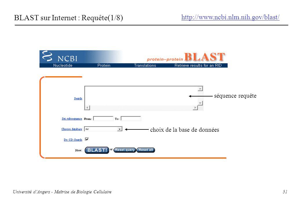 51 BLAST sur Internet : Requête(1/8) http://www.ncbi.nlm.nih.gov/blast/ séquence requête choix de la base de données Université dAngers - Maîtrise de