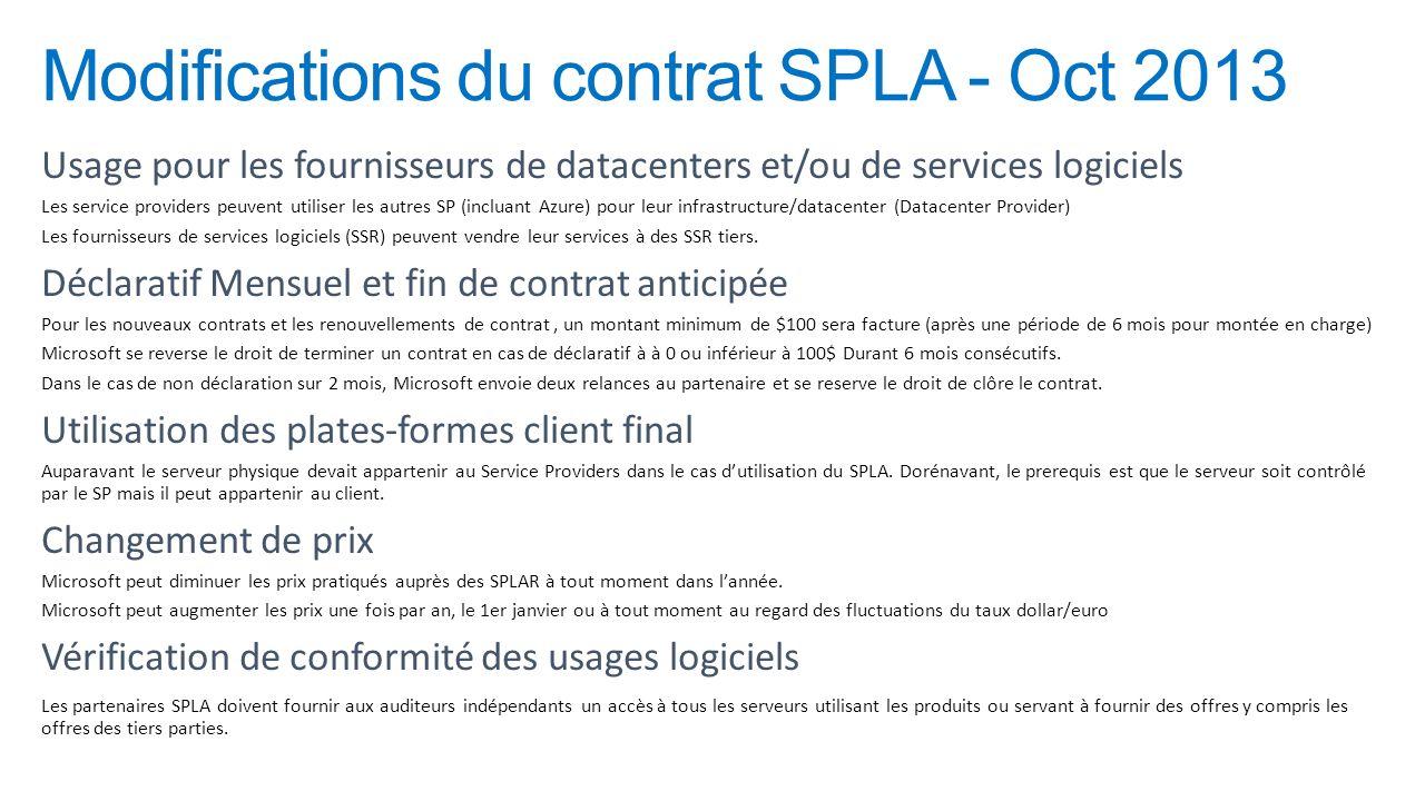 Modifications du contrat SPLA - Oct 2013