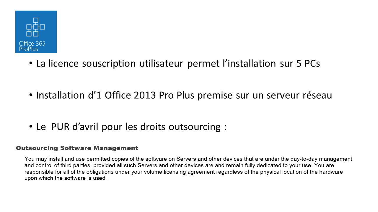 La licence souscription utilisateur permet linstallation sur 5 PCs Installation d1 Office 2013 Pro Plus premise sur un serveur réseau Le PUR davril po