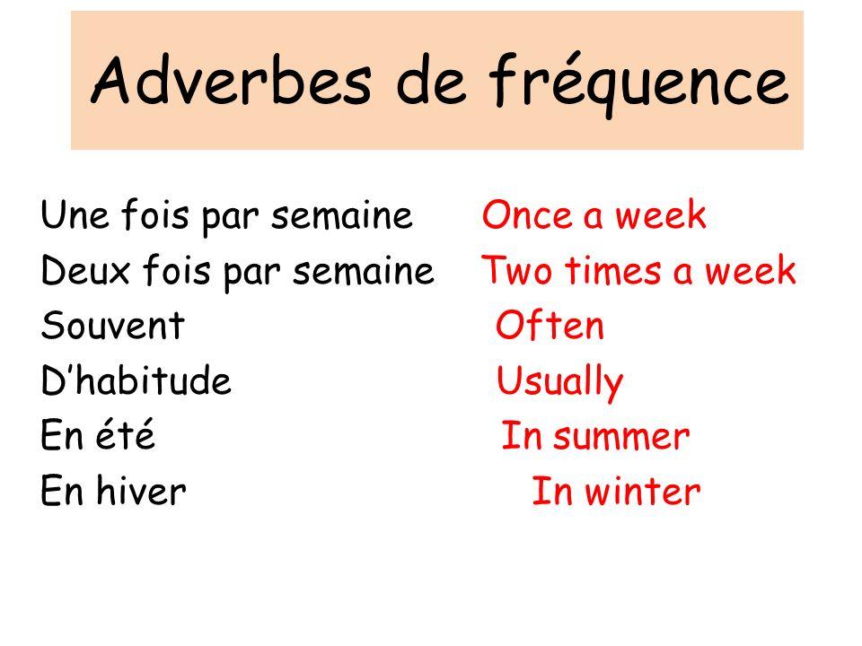 Adverbes de fréquence Une fois par semaine Once a week Deux fois par semaine Two times a week Souvent Often Dhabitude Usually En été In summer En hive