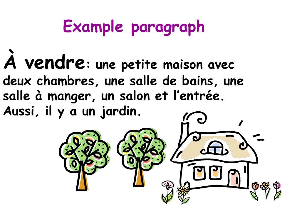 Example paragraph À vendre : une petite maison avec deux chambres, une salle de bains, une salle à manger, un salon et lentrée.