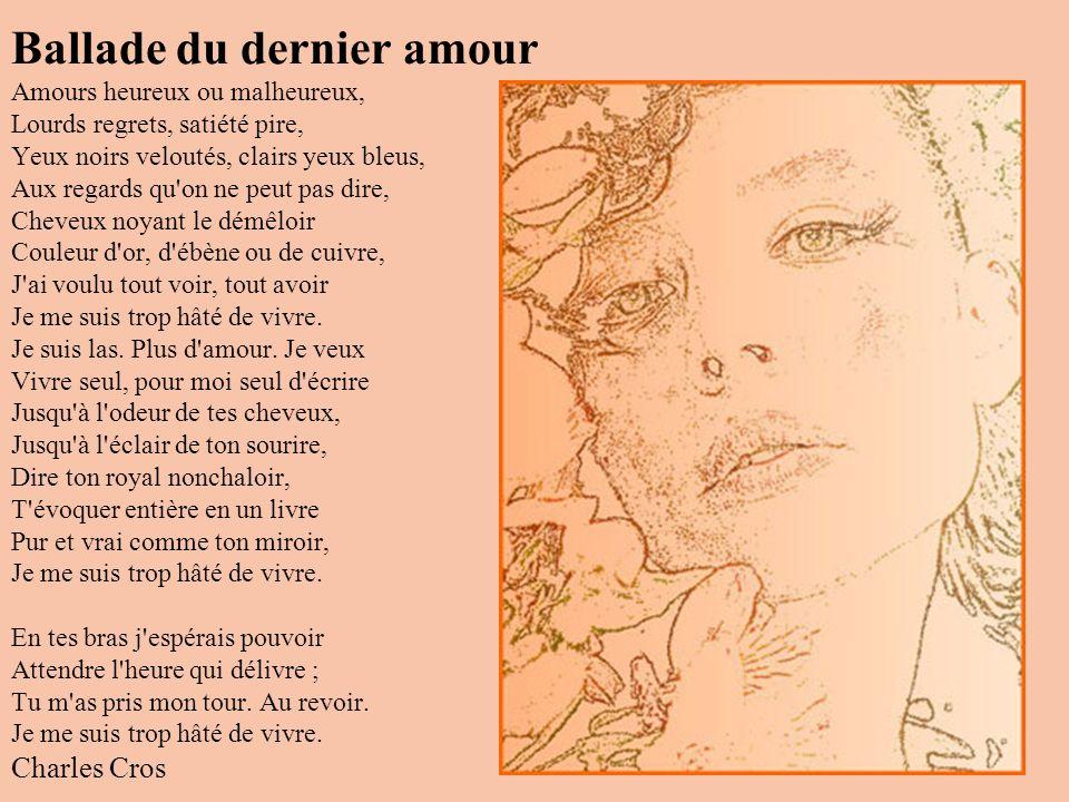 Parfum exotique Baudelaire Quand, les deux yeux fermés, en un soir chaud d'automne, Je respire l'odeur de ton sein chaleureux, Je vois se dérouler des