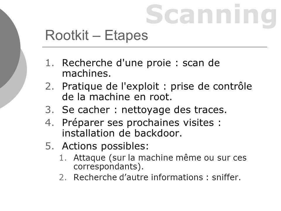Scanning Rootkit – Etapes 1.Recherche d une proie : scan de machines.