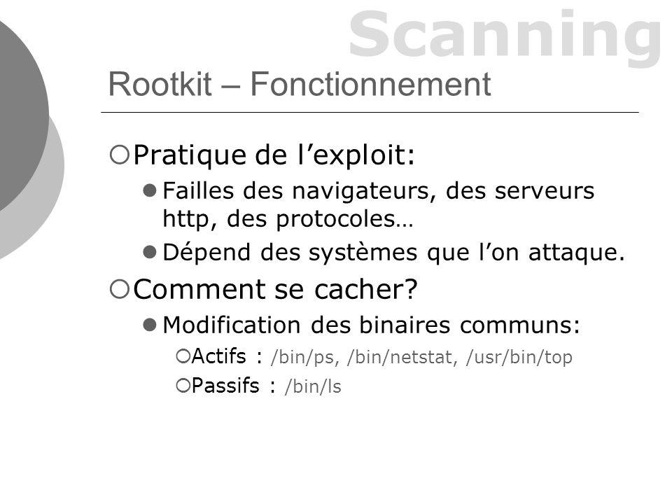 Scanning Rootkit – Fonctionnement Pratique de lexploit: Failles des navigateurs, des serveurs http, des protocoles… Dépend des systèmes que lon attaque.