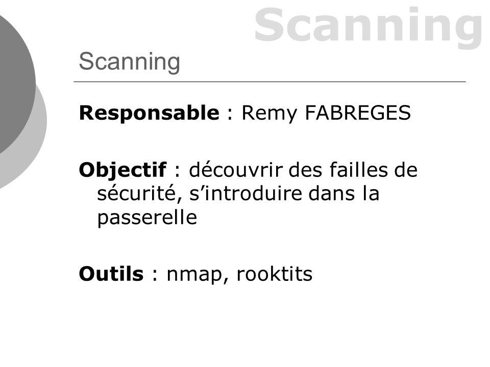 Responsable : Remy FABREGES Objectif : découvrir des failles de sécurité, sintroduire dans la passerelle Outils : nmap, rooktits