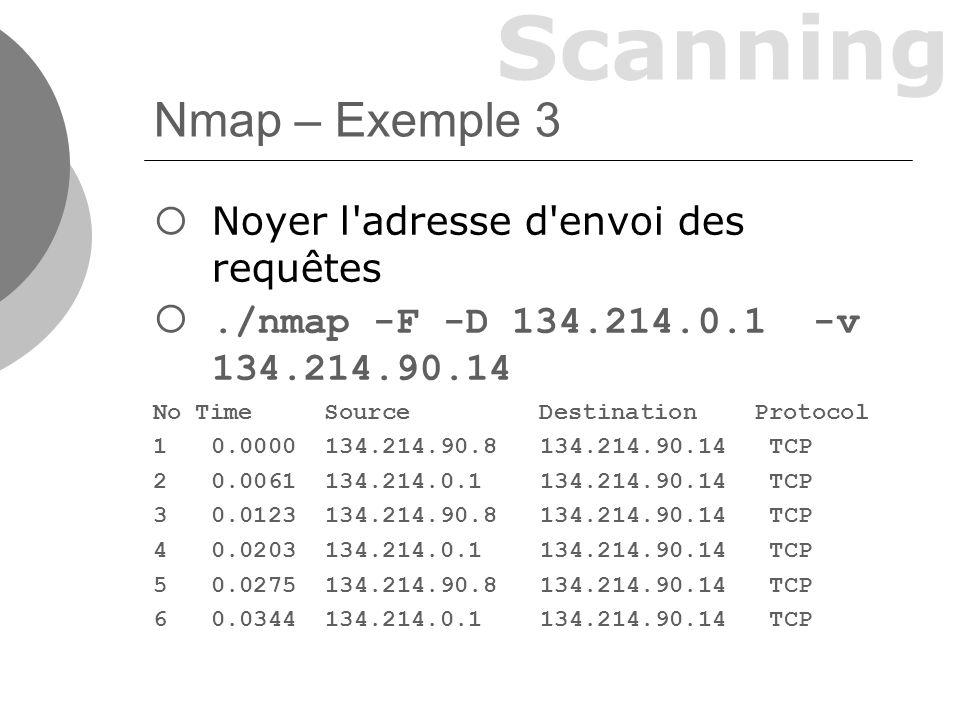 Scanning Nmap – Exemple 3 Noyer l adresse d envoi des requêtes./nmap -F -D 134.214.0.1 -v 134.214.90.14 No Time Source Destination Protocol 10.0000 134.214.90.8 134.214.90.14 TCP 20.0061 134.214.0.1 134.214.90.14 TCP 30.0123 134.214.90.8 134.214.90.14 TCP 40.0203 134.214.0.1 134.214.90.14 TCP 50.0275 134.214.90.8 134.214.90.14 TCP 60.0344 134.214.0.1 134.214.90.14 TCP