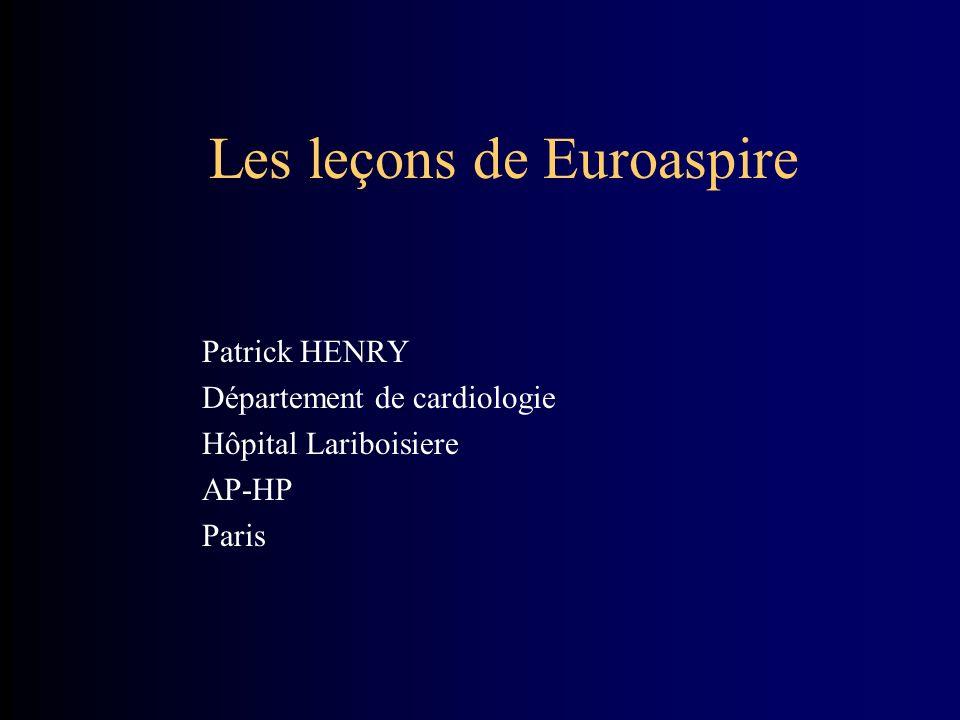 Les leçons de Euroaspire Patrick HENRY Département de cardiologie Hôpital Lariboisiere AP-HP Paris