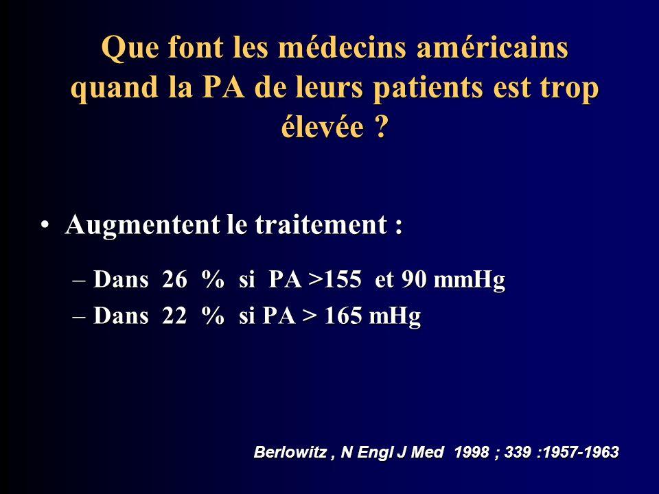 Que font les médecins américains quand la PA de leurs patients est trop élevée ? Augmentent le traitement :Augmentent le traitement : –Dans 26 % si PA