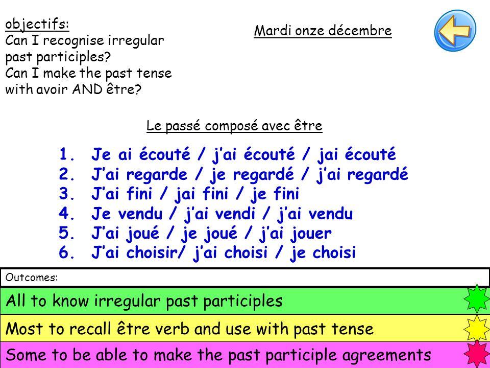 Les participes irréguliers: Bu = drunk Lu = read Vu = seen pris = taken Fait = done Eu = had Boire (to drink) Lire (to read) Voir (to see) Prendre (to take) Faire (to do) Avoir (to have) 1.He drank 2.They (fem) read 3.We saw 4.You (plu) took 5.I did 6.She had 1.Il a bu 2.Elles ont lu 3.Nous avons vu 4.Vous avez pris 5.Jai fait 6.Elle a eu