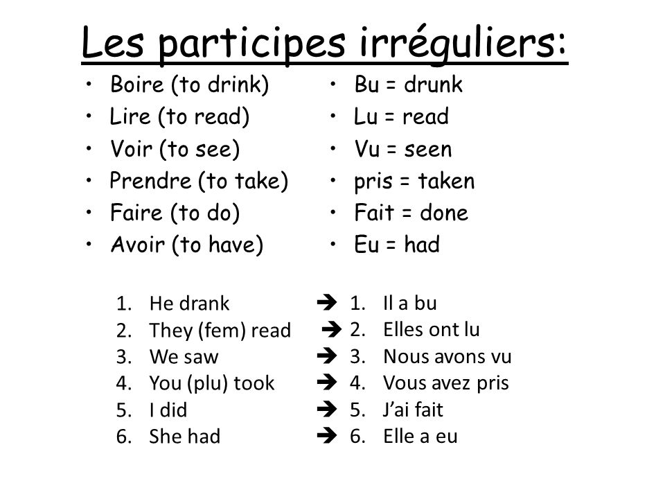 Les participes irréguliers: Bu = drunk Lu = read Vu = seen pris = taken Fait = done Eu = had Boire (to drink) Lire (to read) Voir (to see) Prendre (to