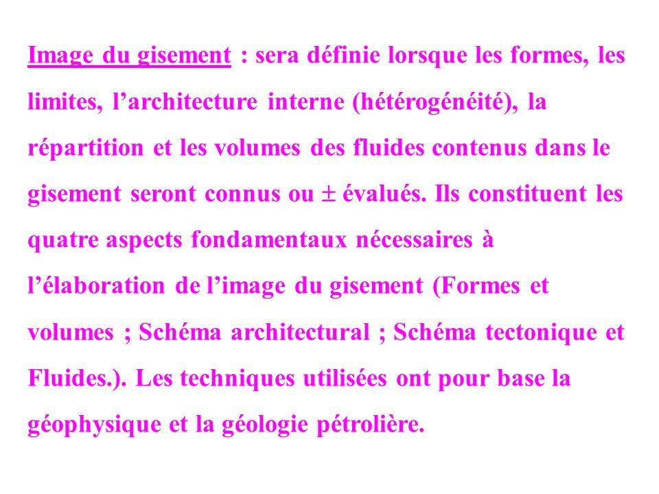 Image du gisement : sera définie lorsque les formes, les limites, larchitecture interne (hétérogénéité), la répartition et les volumes des fluides con