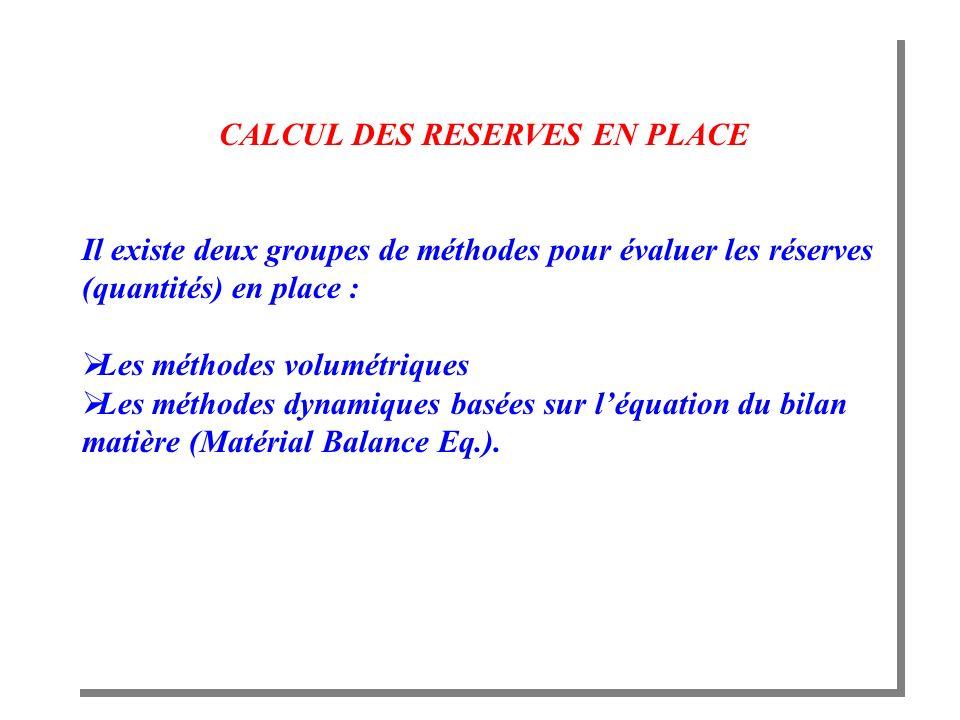 CALCUL DES RESERVES EN PLACE Il existe deux groupes de méthodes pour évaluer les réserves (quantités) en place : Les méthodes volumétriques Les méthod