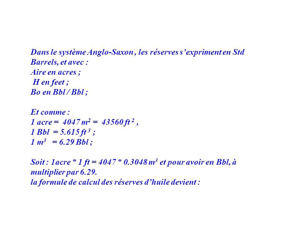 Dans le système Anglo-Saxon, les réserves sexpriment en Std Barrels, et avec : Aire en acres ; H en feet ; Bo en Bbl / Bbl ; Et comme : 1 acre = 4047