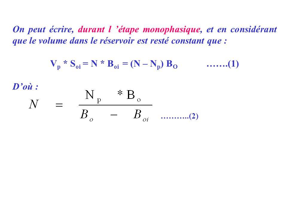 On peut écrire, durant l étape monophasique, et en considérant que le volume dans le réservoir est resté constant que : V p * S oi = N * B oi = (N – N