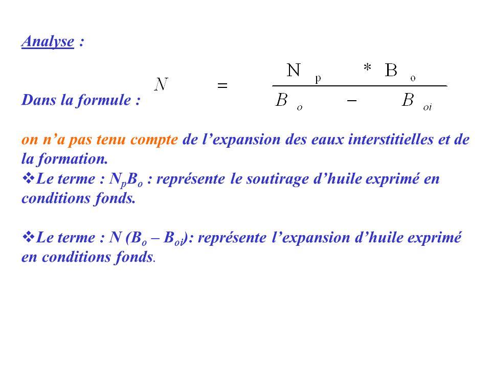 Analyse : Dans la formule : on na pas tenu compte de lexpansion des eaux interstitielles et de la formation. Le terme : N p B o : représente le soutir