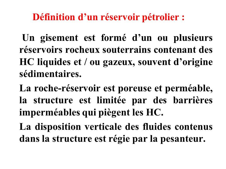 Un gisement est formé dun ou plusieurs réservoirs rocheux souterrains contenant des HC liquides et / ou gazeux, souvent dorigine sédimentaires. La roc