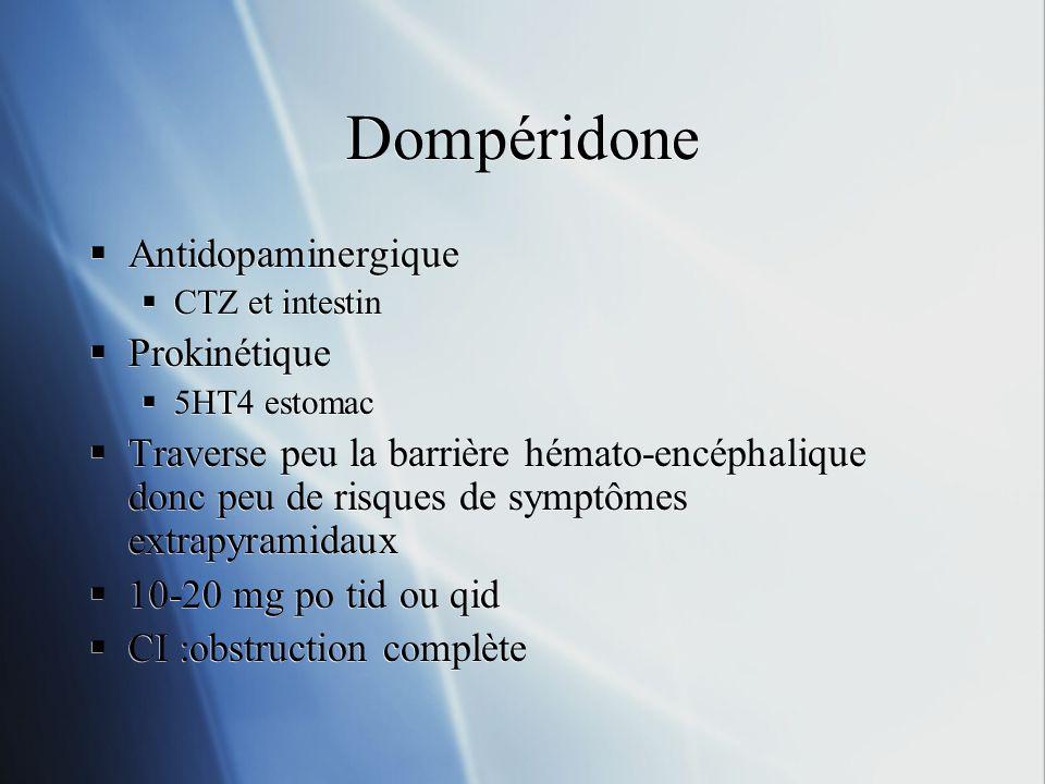 Dompéridone Antidopaminergique CTZ et intestin Prokinétique 5HT4 estomac Traverse peu la barrière hémato-encéphalique donc peu de risques de symptômes